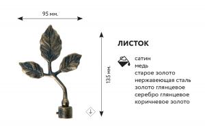 """Наконечник  """"Лист"""" для кованных карнизов ф16мм (пара)"""