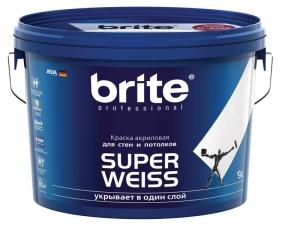 Краска Brite Superweiss акрил. интерьерная для стен и потолков 0,9-9л