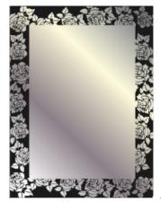 """Зеркало  """"Цветочный орнамент"""" 1000х650 пескостр. рисунок, подложка"""