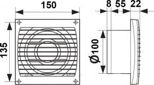 Вентилятор ERA 4C HT D100 обр. клапан+выкл.шнурок