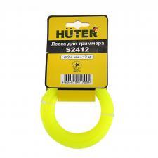 Леска Huter для триммера ф2,4мм 12м