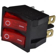 Переключатель сетевой 2кл. 26х31мм (индик.лампы)