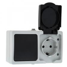 Розетка + выкл. 1клав. серый влагозащ. IP54 ЭКФ