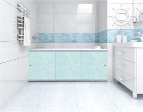 Экран купе для ванны 1,5м Премиум облака голубые