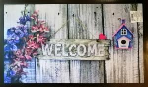 Коврик придверный (Добро пожаловать, цветы) 45х75см принтованный