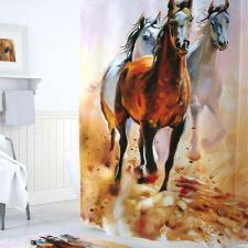 Шторка для душа 180х200 Tropikhome DIGITAL PRINTED Horses