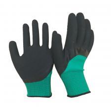 Перчатки зеленые облитая ладонь №359