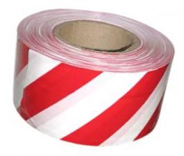 Лента сигнальная 5см х 200м красно-белая