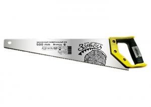 "Ножовка по дереву ""Зубец"", 350-500 мм, 7-8 TPI, калёный зуб, 2-х компонентная рукоятка Сибртех"