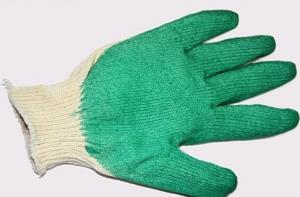 Перчатки х/б облитая ладонь зеленые