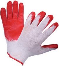 Перчатки х/б облитая ладонь красн