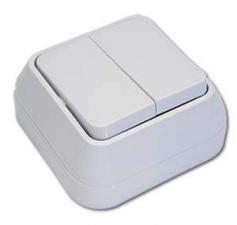 Выключатели 2-х клавишный Makel Мимоза о/у белый-бежевый