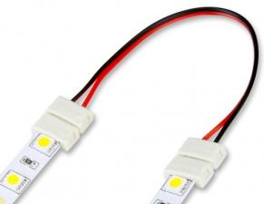 Коннектор 8мм 2-х сторонний с проводом для LED ленты