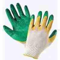 Перчатки х\б 13кл зел-желт. облитая ладонь