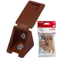 Уголок мебельный ЗУБР с шурупом ( 4,0x15мм, 4шт) 4-308256