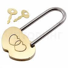 Замок навесной Аллюр сувенирный СЕРДЕЧКО латунь 2 декоративных ключа