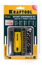 Отвертка Крафтул реверс+адаптер 18предм. 26143-H18