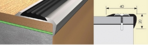 Угол 40х20 0,9м. резиновая вставка