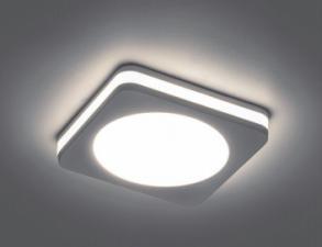 Светильник встраиваемый Al601 белый квадр. 7W 4К с подсветкой 82х82х30мм светодиодный
