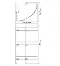 Полка стеклянная тройная угловая К-3133
