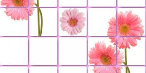 Панель ПВХ Артдекарт 0,955х0,48м Плитка Розовые герберы