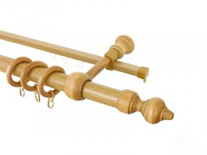 Карниз 28мм деревянная фурнитура 2-х рядн. 1,8 метра (дуб/орех)