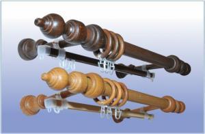 Карниз 28мм деревянная фурнитура 2-х рядн. 3,6 м. составной (бук/орех/махагон)