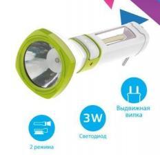 Фонарь аккум. 5W LED 3 режима бок. панель COB 3Вт с з/у КОСМОС