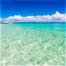 "Кухонный экран из стекла 600х600х4мм ""Морской бриз"""