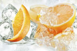 """Стеновая панель фотопечать """"Апельсины и лед"""" АВС 600х900х1.5мм"""